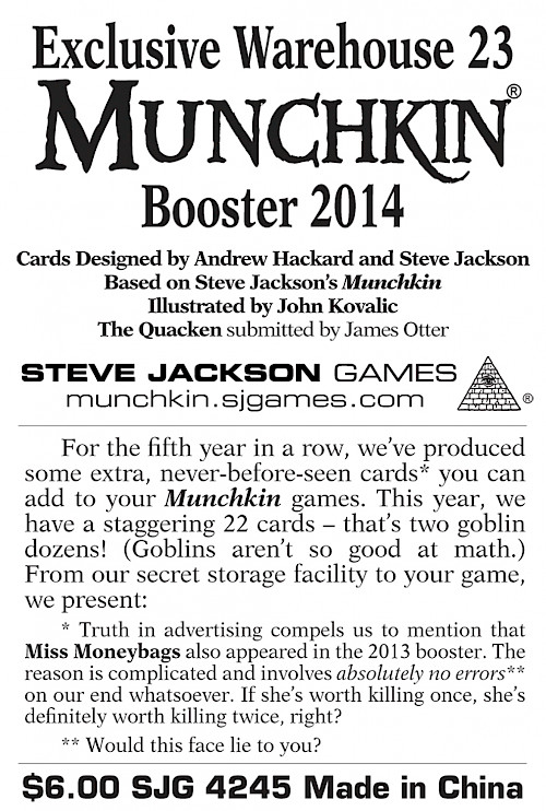 Exclusive Warehouse 23 Munchkin Booster 2014 cover