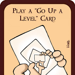"Play a ""Go Up a Level"" Card Munchkin Promo Card cover"